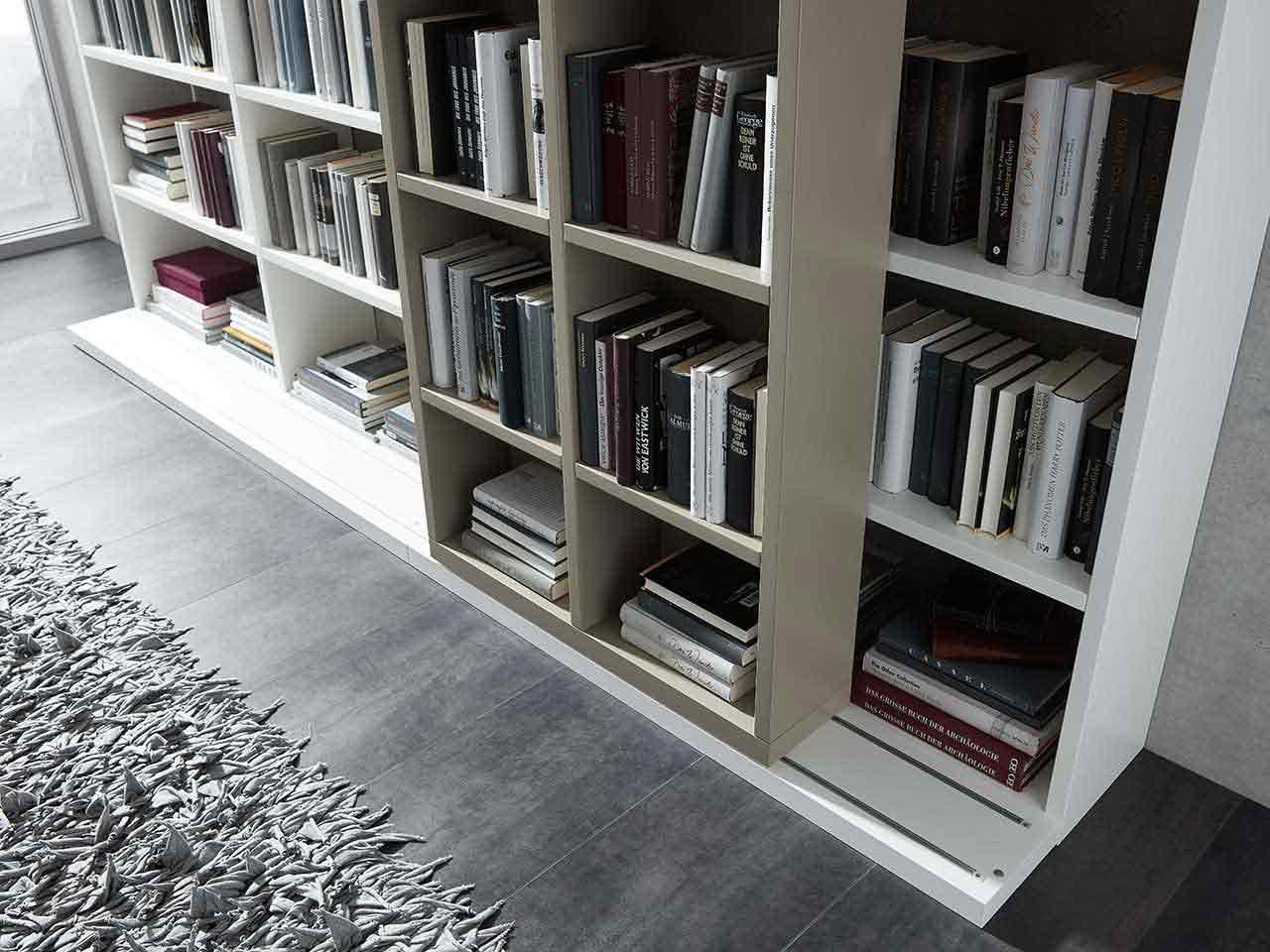 Schieberegal Wohnzimmer Lack grau Lack weiß Lavita